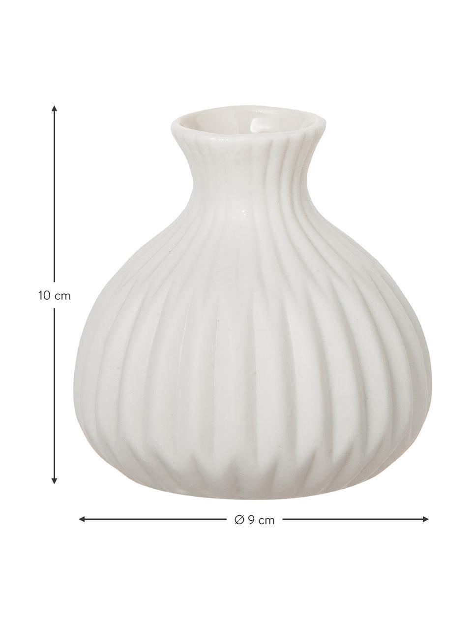 Set de jarrones de porcelana Esko, 3pzas., Porcelana, Blanco, Set de diferentes tamaños