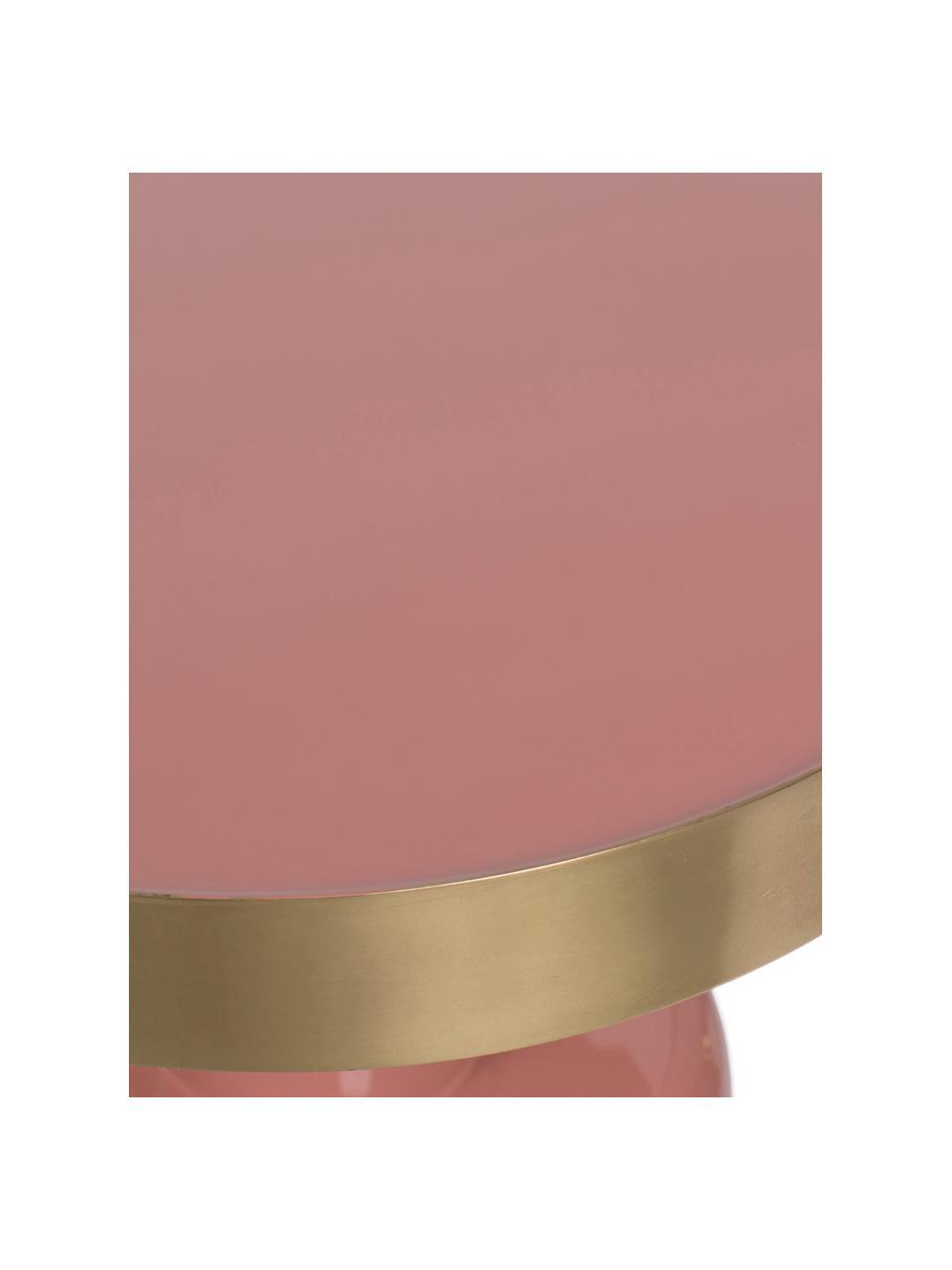 Tavolino rotondo smaltato Glam, Piano d'appoggio: metallo smaltato, Struttura: metallo verniciato a polv, Rosa, Ø 36 x Alt. 51 cm