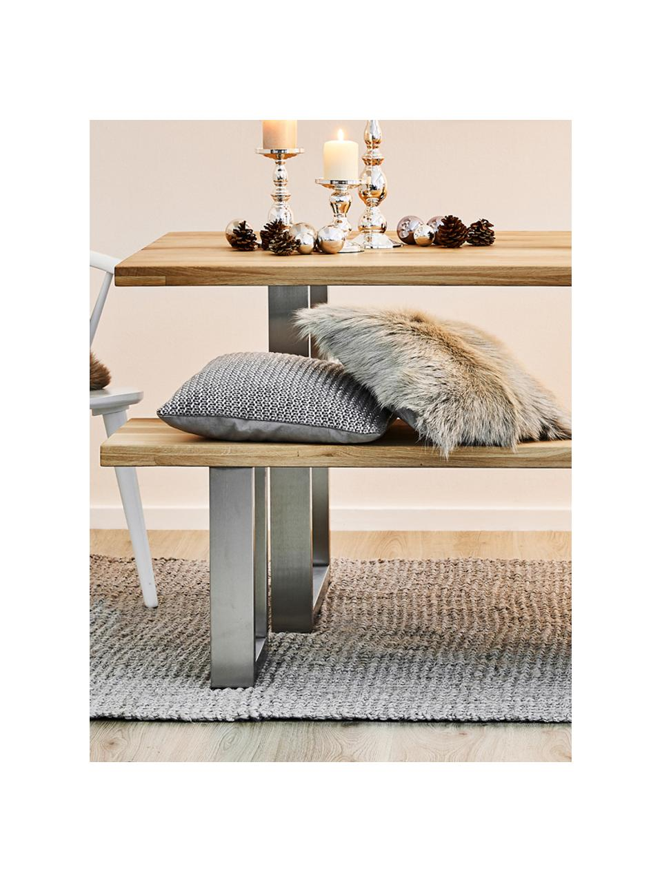 Table avec plateau en bois massif Oliver, Chêne sauvage, acier inoxydable