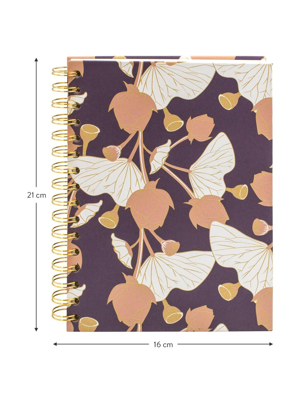 Notizbuch Lotus, Lila, Rosa, Gelb, Weiß, 16 x 21 cm