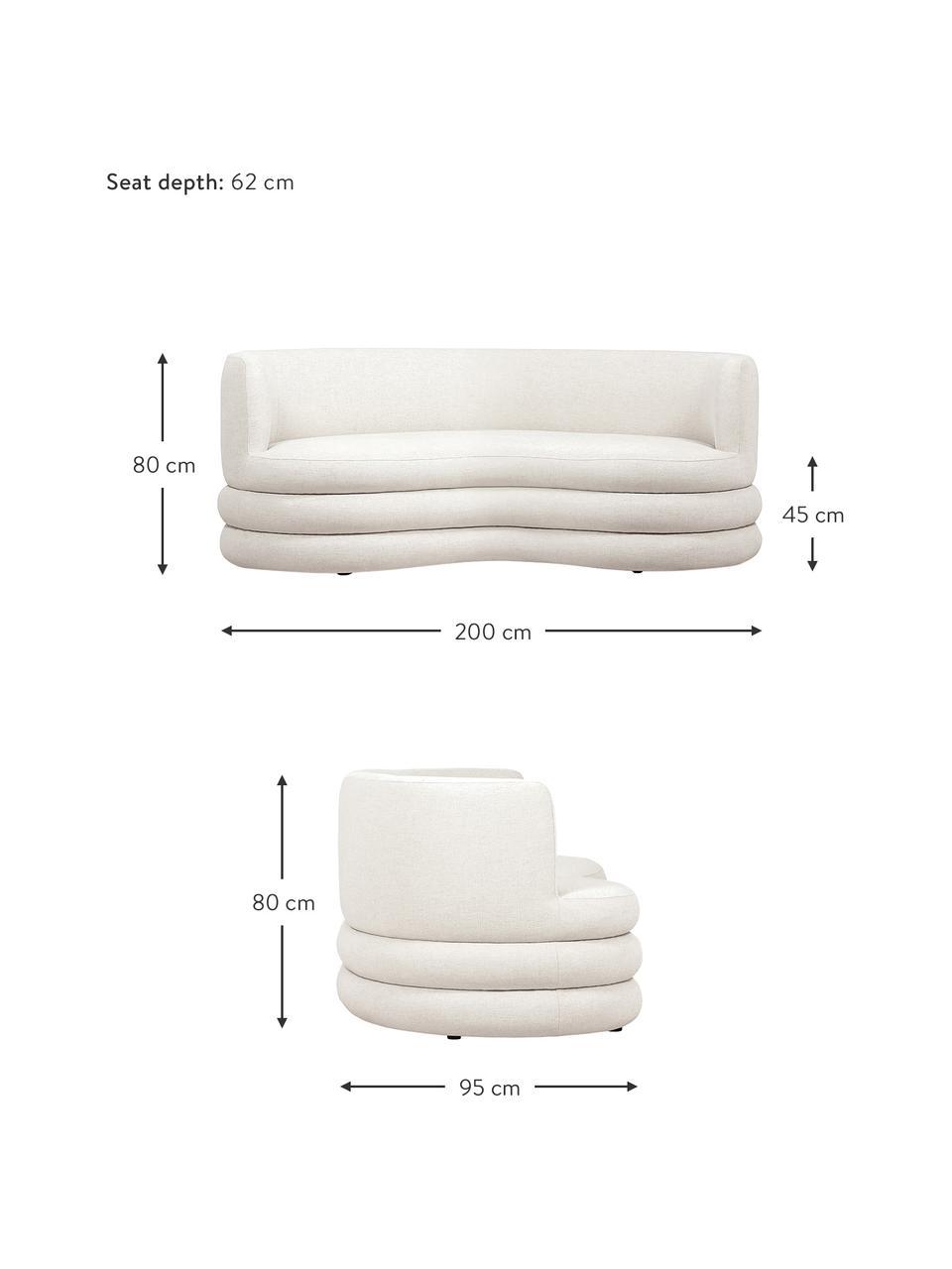 Divano 3 posti in tessuto beige Solomon, Rivestimento: 56% viscosa, 21% polieste, Struttura: legno di abete massiccio,, Piedini: plastica, Tessuto beige, Larg. 200 x Prof. 95 cm