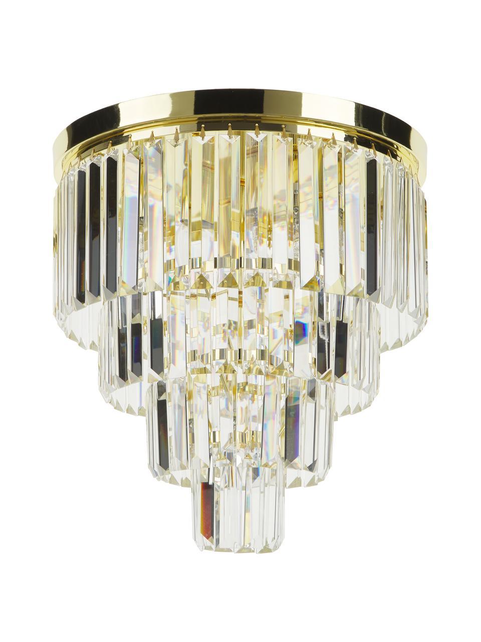 Lampadario in vetro Gracja, Paralume: vetro, Struttura: metallo, Dorato, trasparente, Ø 40 x Alt. 40 cm