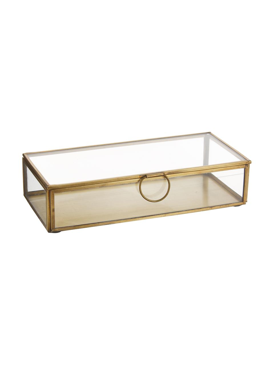 Pudełko do przechowywania Janni, Mosiądz, szkło, Mosiądz, S 22 x G 10 cm