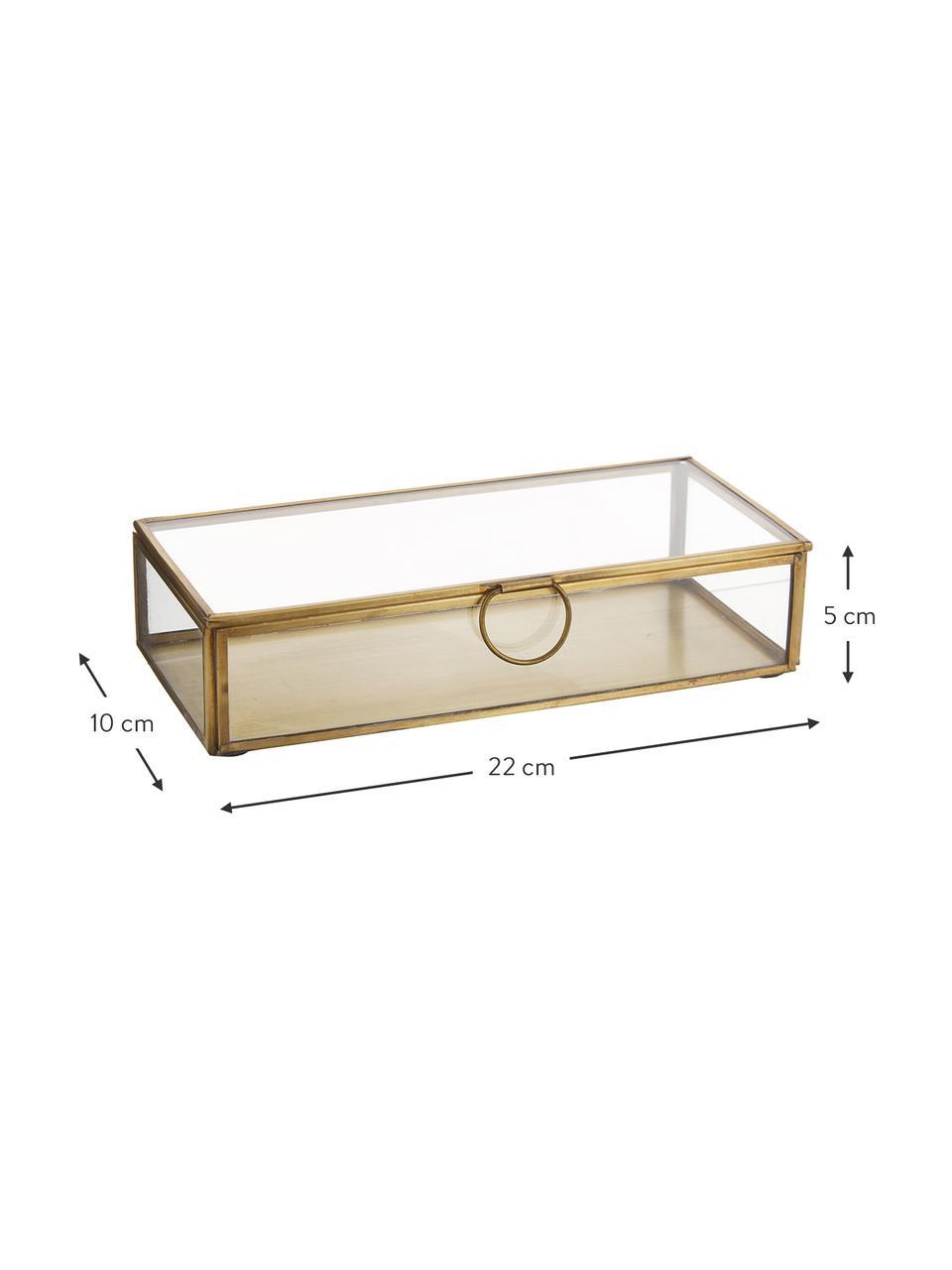 Aufbewahrungsbox Janni, Messing, Glas, Messing, B 22 x T 10 cm