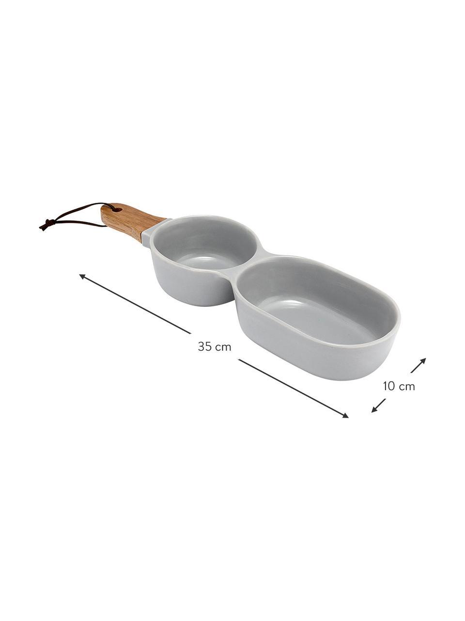 Miska do serwowania z drewnianym uchwytem Classic, Szary, S 35 x G 10 cm