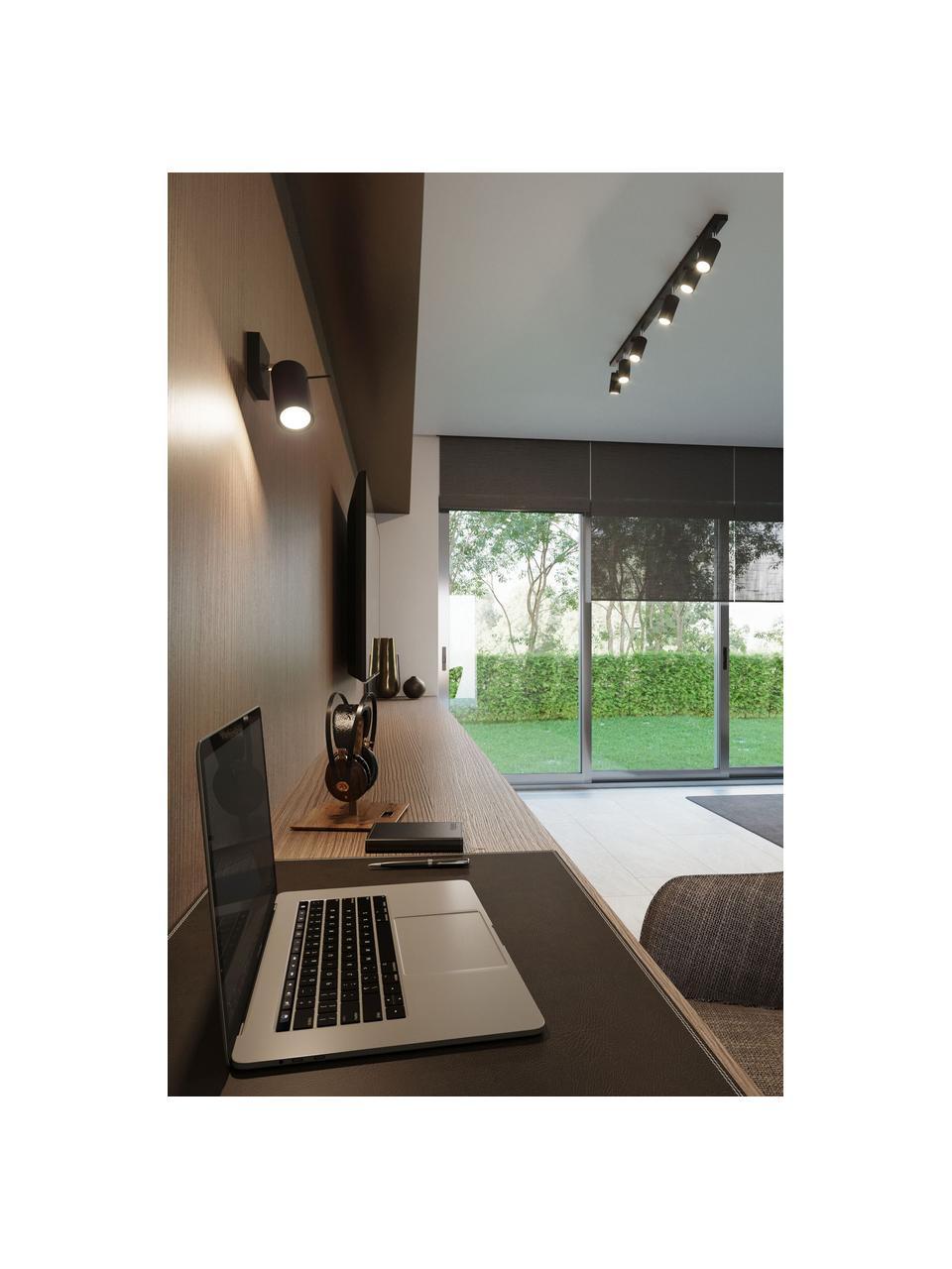 Wand- und Deckenstrahler Etna in Schwarz, Lampenschirm: Stahl, lackiert, Schwarz, 8 x 15 cm