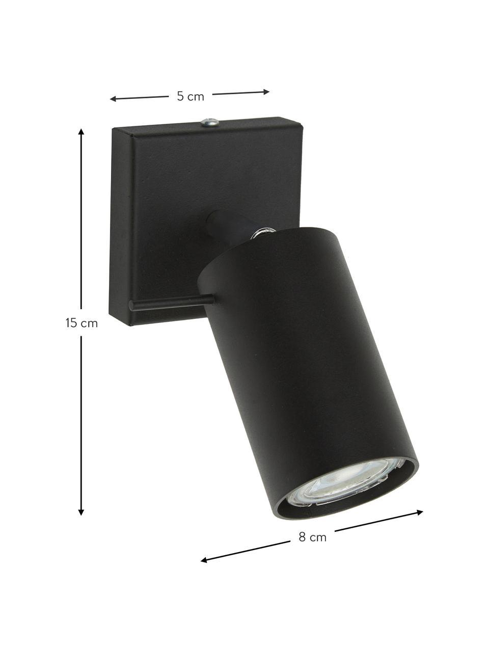 Faretto nero da parete e soffitto Etna, Paralume: acciaio verniciato, Struttura: metallo, Nero, Larg. 8 x Alt. 15 cm