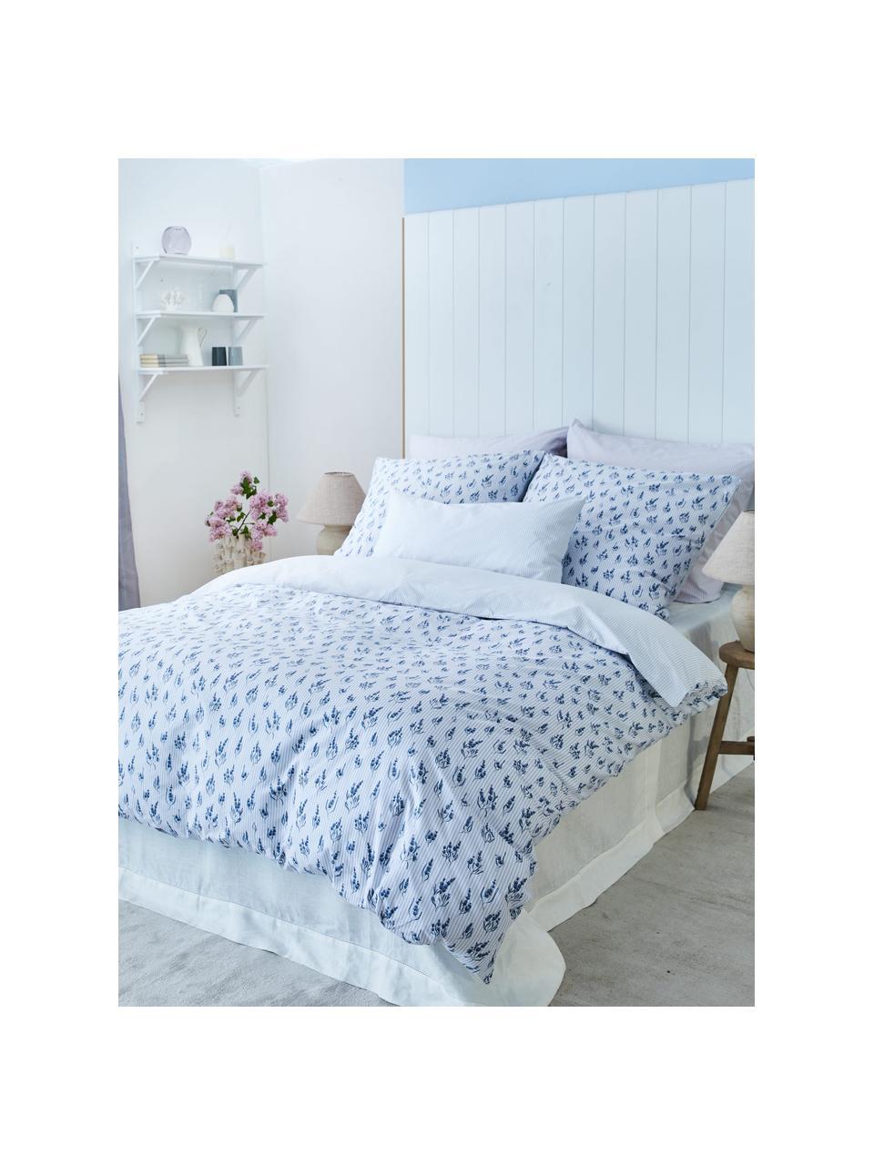 Baumwoll-Bettwäsche Yane mit Blümchen/gestreift, Webart: Renforcé Fadendichte 144 , Blau, Weiß, 240 x 220 cm + 2 Kissen 80 x 80 cm