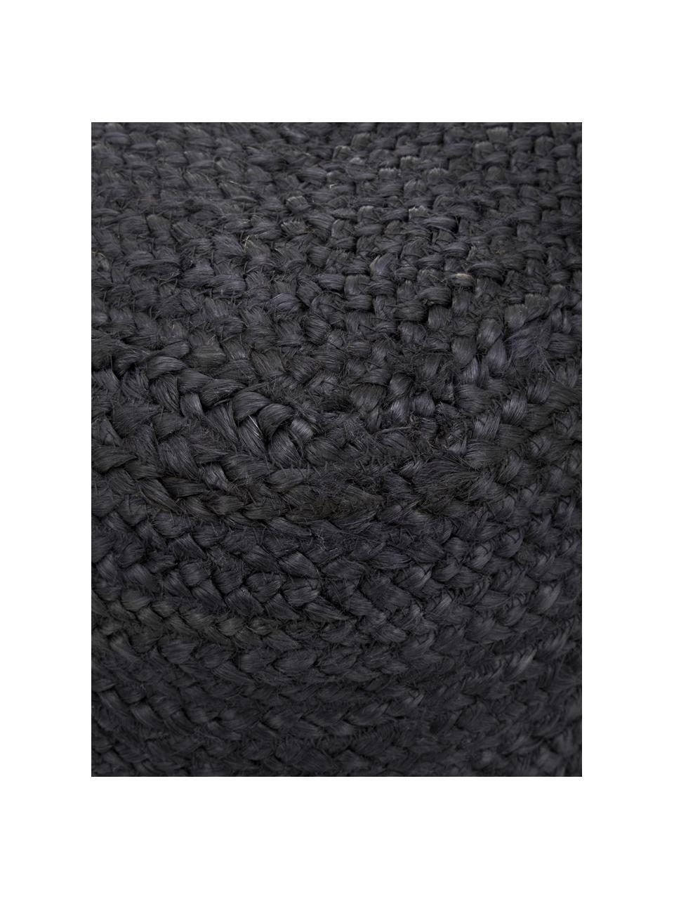 Handgefertigter Pouf Bono aus Jute, Bezug: Jute, Schwarz, 45 x 45 cm