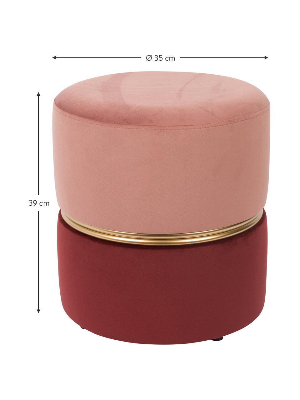 Fluwelen poef Bubbly, Bekleding: polyesterfluweel, Frame: MDF, grenenhout, Roze, robijnrood, Ø 35 x H 39 cm