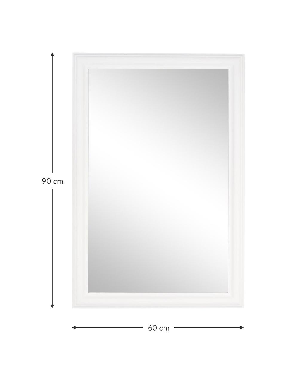 Eckiger Wandspiegel Sanzio mit weißem Paulowniaholzrahmen, Rahmen: Paulowniaholz, beschichte, Spiegelfläche: Spiegelglas, Weiß, 60 x 90 cm