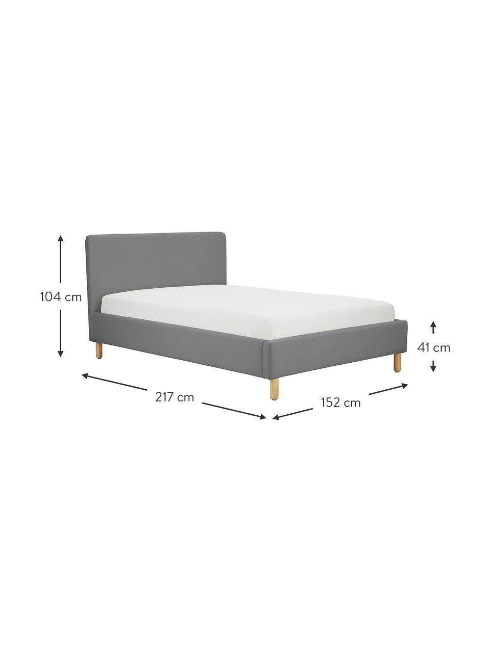 Gestoffeerd bed Celeste in grijs, Frame: massief grenenhout, multi, Bekleding: polyester (gestructureerd, Poten: massief gelakt rubberhout, Geweven stof grijs, 180 x 200 cm