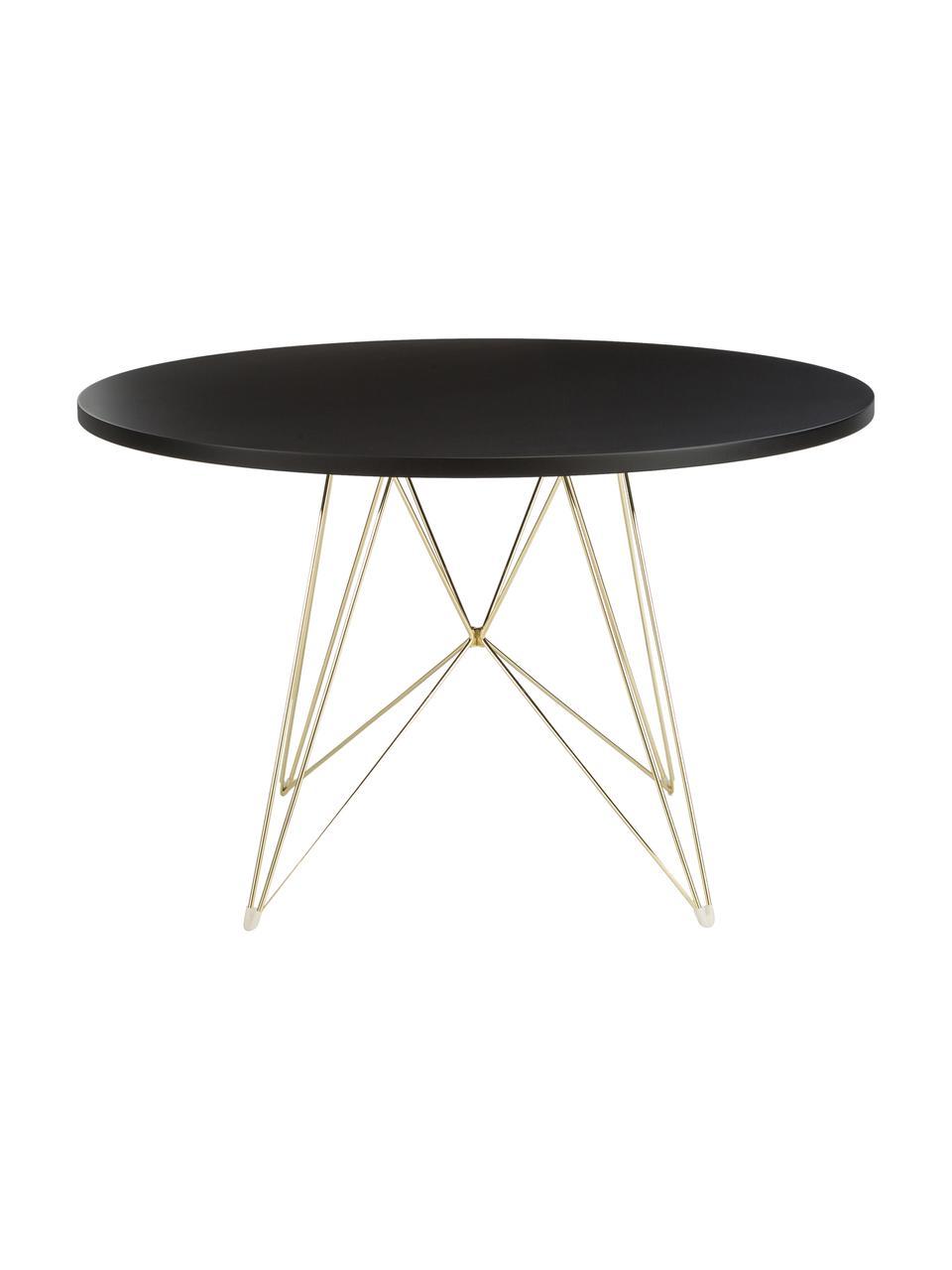 Okrągły stół do jadalni na kozłach XZ3, Blat: płyta pilśniowa o średnie, Nogi: drut stalowy, chromowany, Mosiądz, Ø 120 x W 74 cm