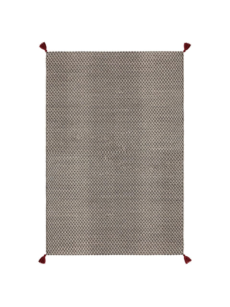 Tappeto in lana color nero/bianco tessuto a mano  con nappe rosse Tolga, 50% lana, 35% cotone, 15% nylon, Nero, bianco crema, Larg. 120 x Lung. 170 cm (taglia S)