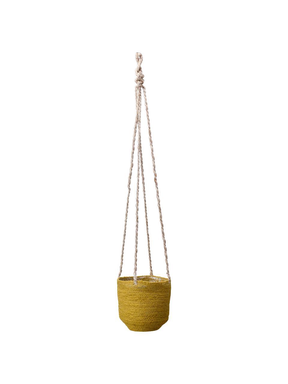 Kleiner hängender Pflanztopf Belle mit Innenfolie, Innen: Kunststoff, Gelb, Ø 16 x H 75 cm