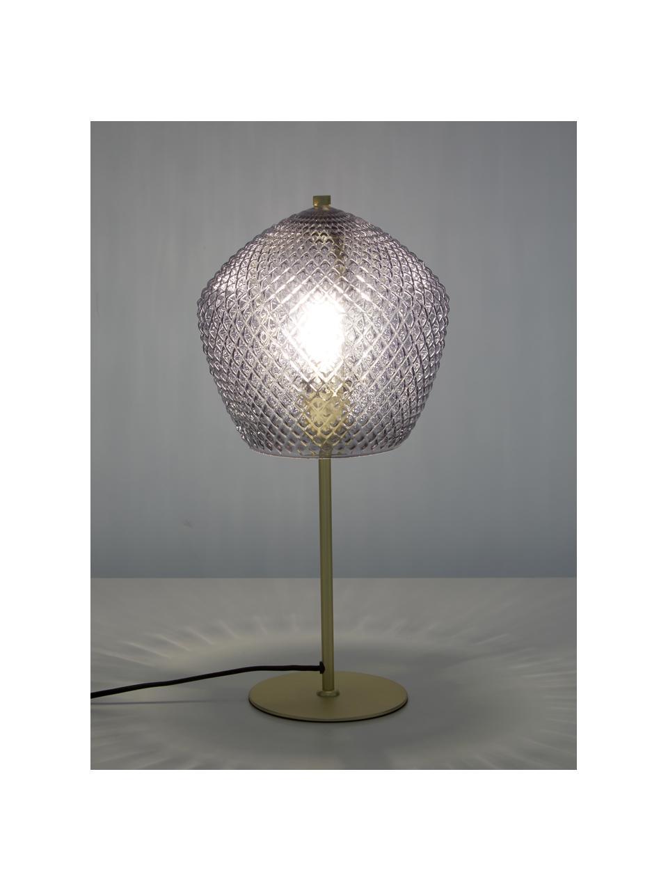 Lampada da tavolo con paralume in vetro Beatrice, Paralume: vetro, Base della lampada: metallo rivestito, Oro, grigio, trasparente, Ø 23 x Alt. 47 cm