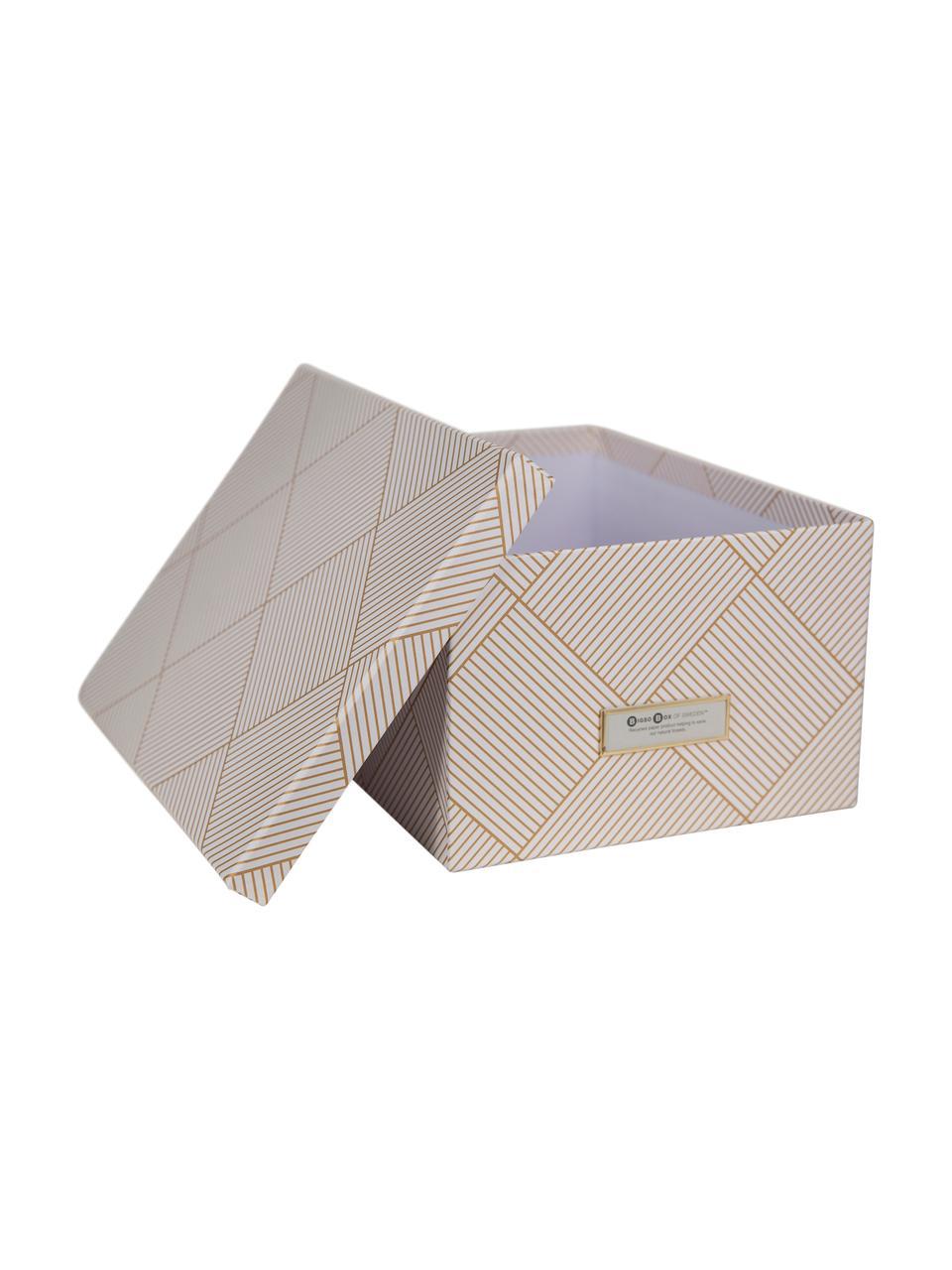 Aufbewahrungsbox Gustav, Box: Fester, laminierter Karto, Goldfarben, Weiß, 30 x 15 cm