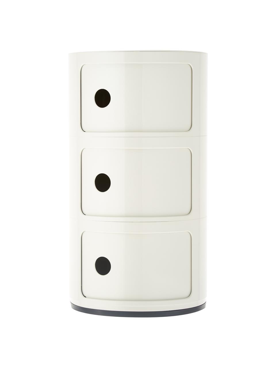 Comodino contenitore di design con 3 cassetti Componibili, Materiale sintetico (ABS), verniciato, bianco opaco, Ø 32 x Alt. 59 cm