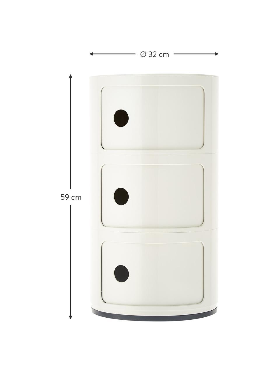 Designový odkládací stolek se 3 přihrádkami Componibili, Bílá