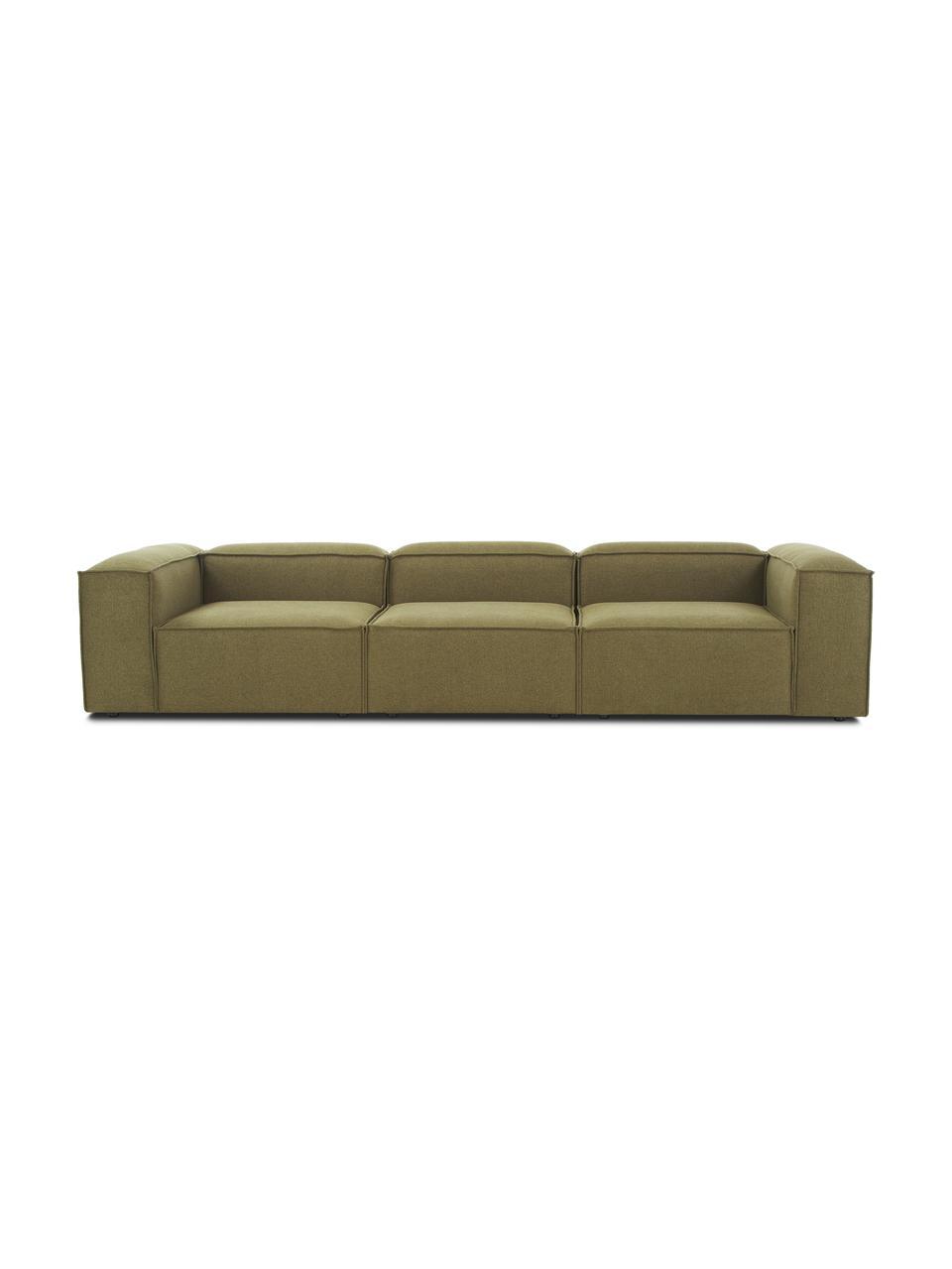 Modulaire bank Lennon (4-zits) in groen, Bekleding: 100% polyester, Frame: massief grenenhout, multi, Poten: kunststof, Geweven stof groen, B 327 x D 119 cm