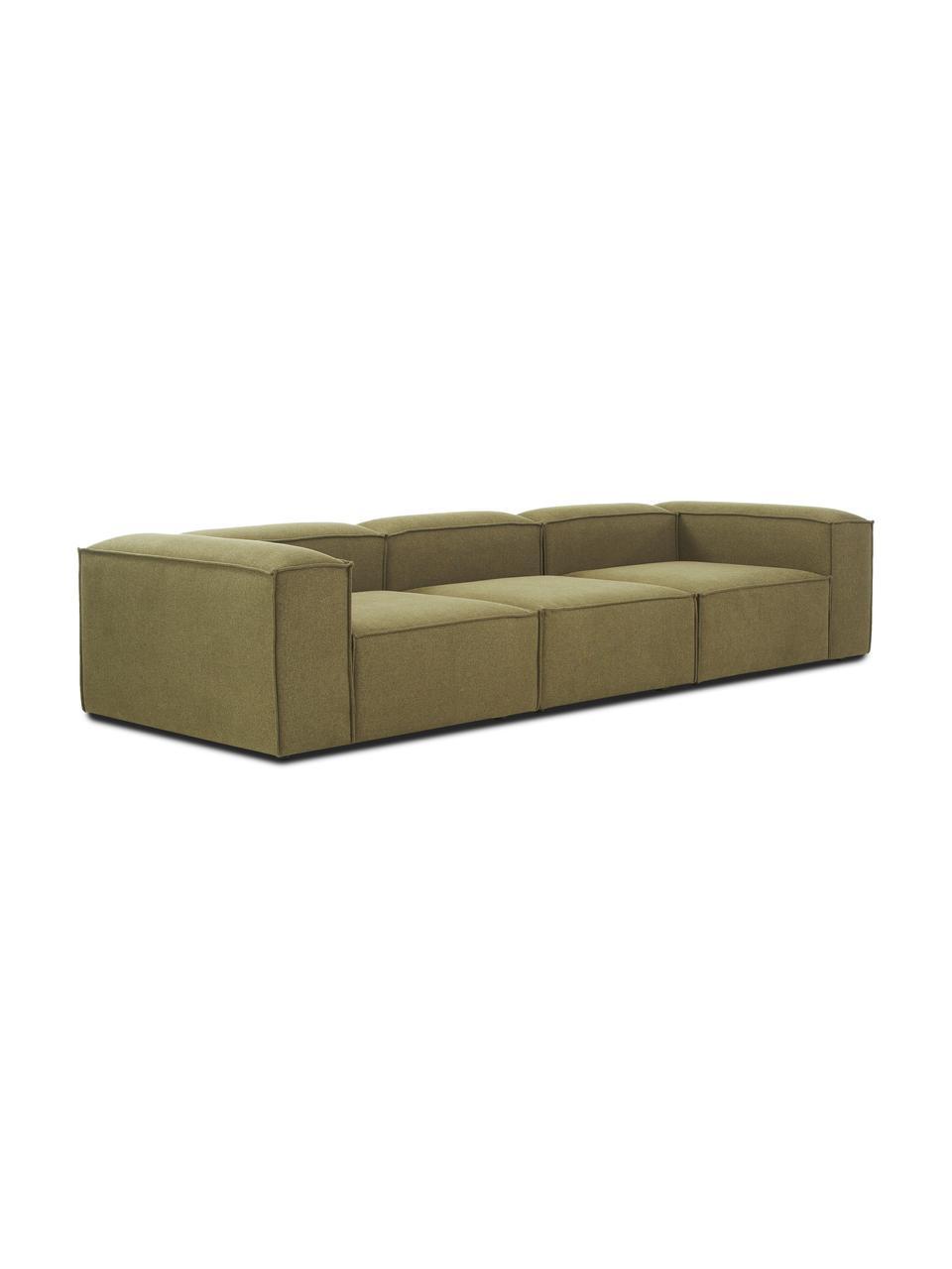 Sofa modułowa Lennon (4-osobowa), Tapicerka: 100% poliester 35000cyk, Nogi: tworzywo sztuczne, Zielony, S 327 x G 119 cm