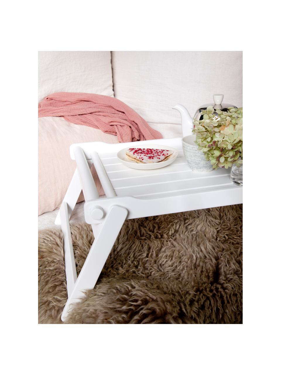 Klappbares Holz-Serviertablett Bed, L 58 x B 36 cm, Mahagoniholz, Polyurethan lackiert, Weiß , 36 x 58 cm