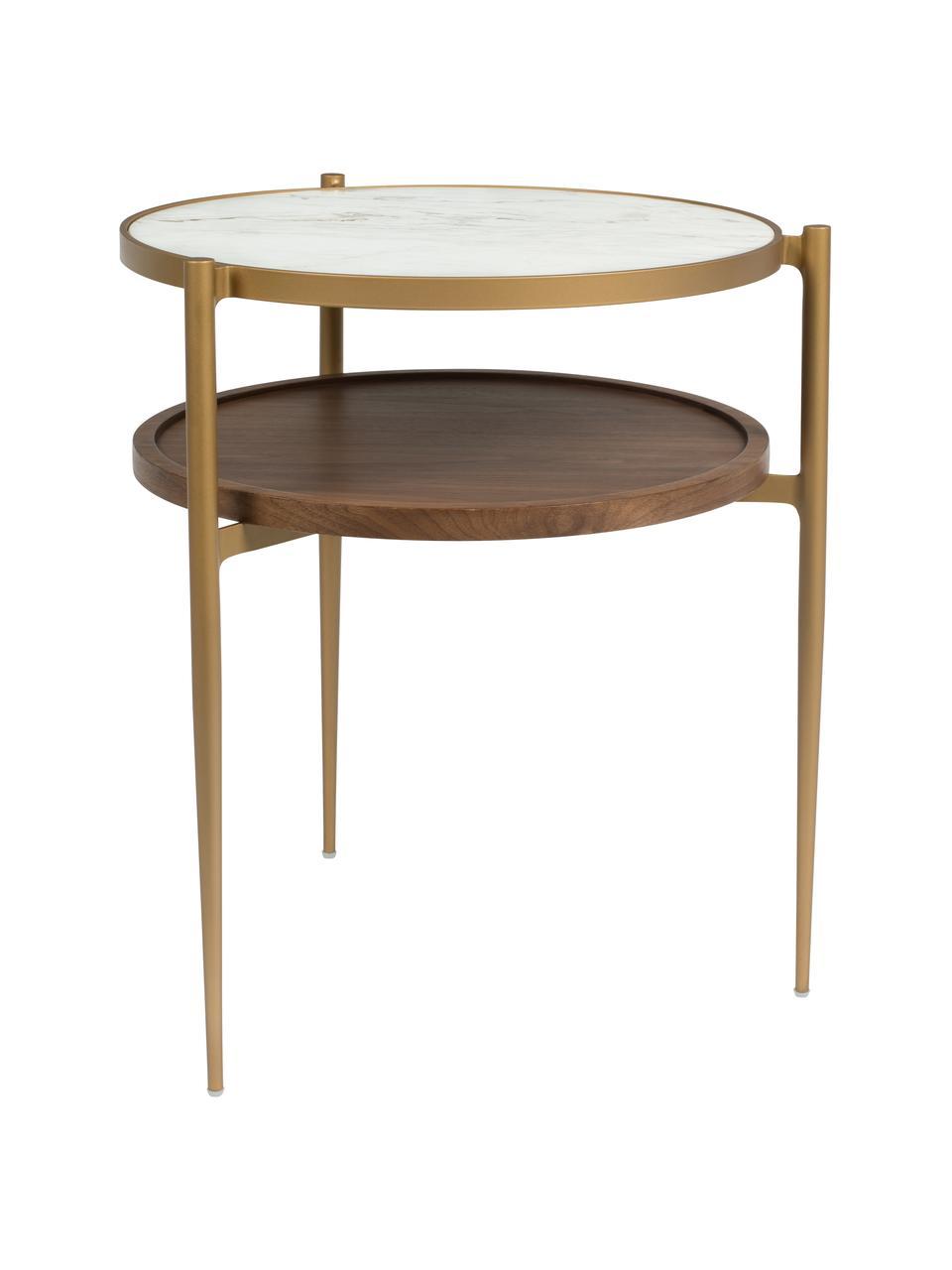 Table d'appoint ronde aspect marbreBella, Blanc, couleur dorée, bois de noyer