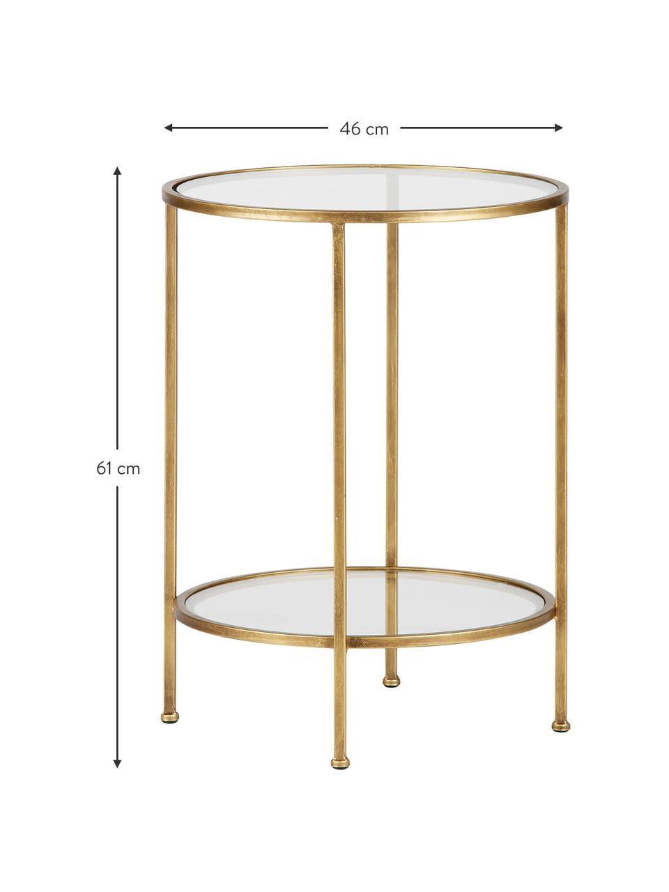 Table d'appoint en verre finition antiquaire Goddess, Structure: laiton, finition antiquaire Sol et plateau: transparent