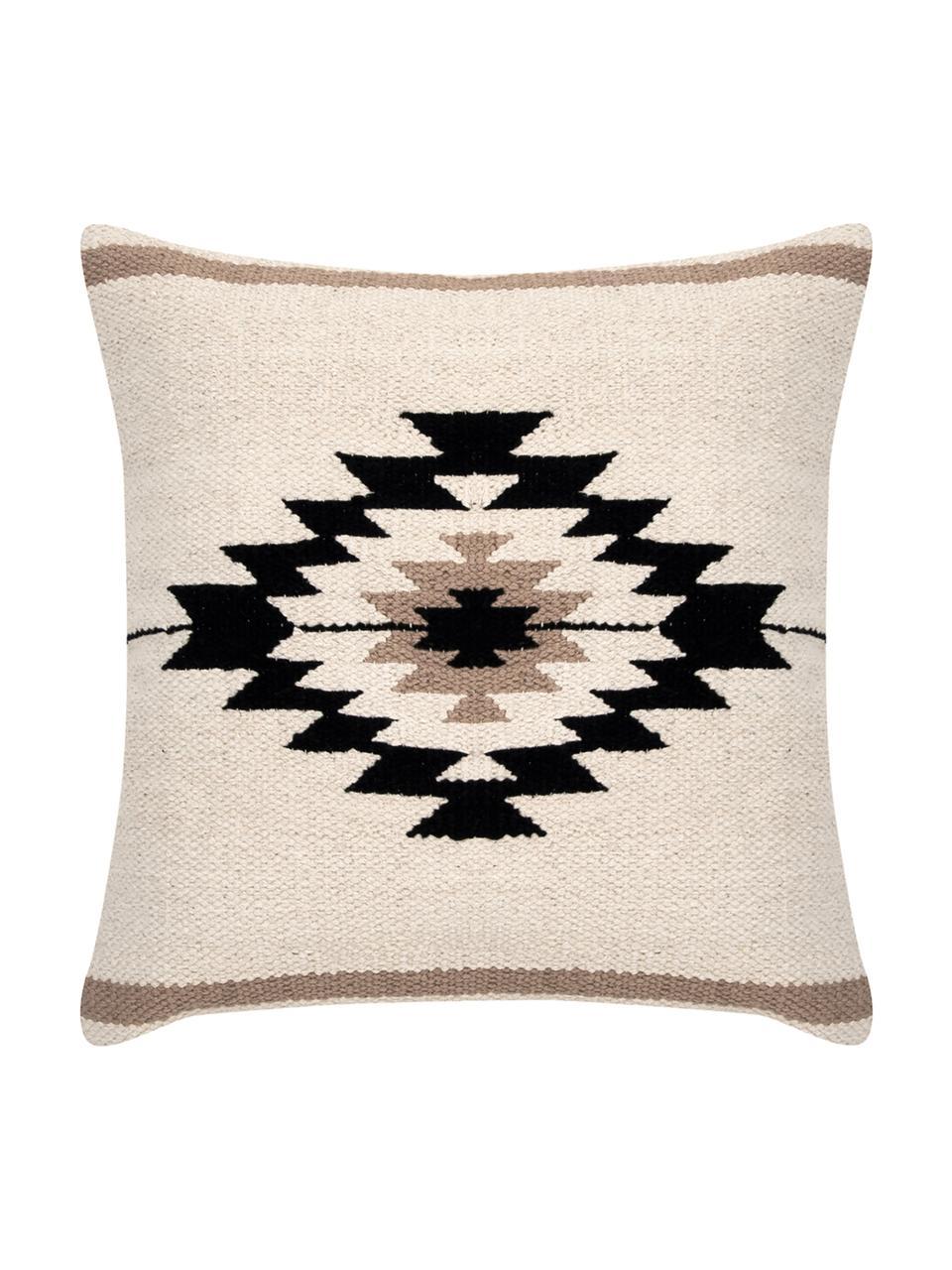 Housse de coussin 45x45 ethnique Toluca, Noir, beige, taupe