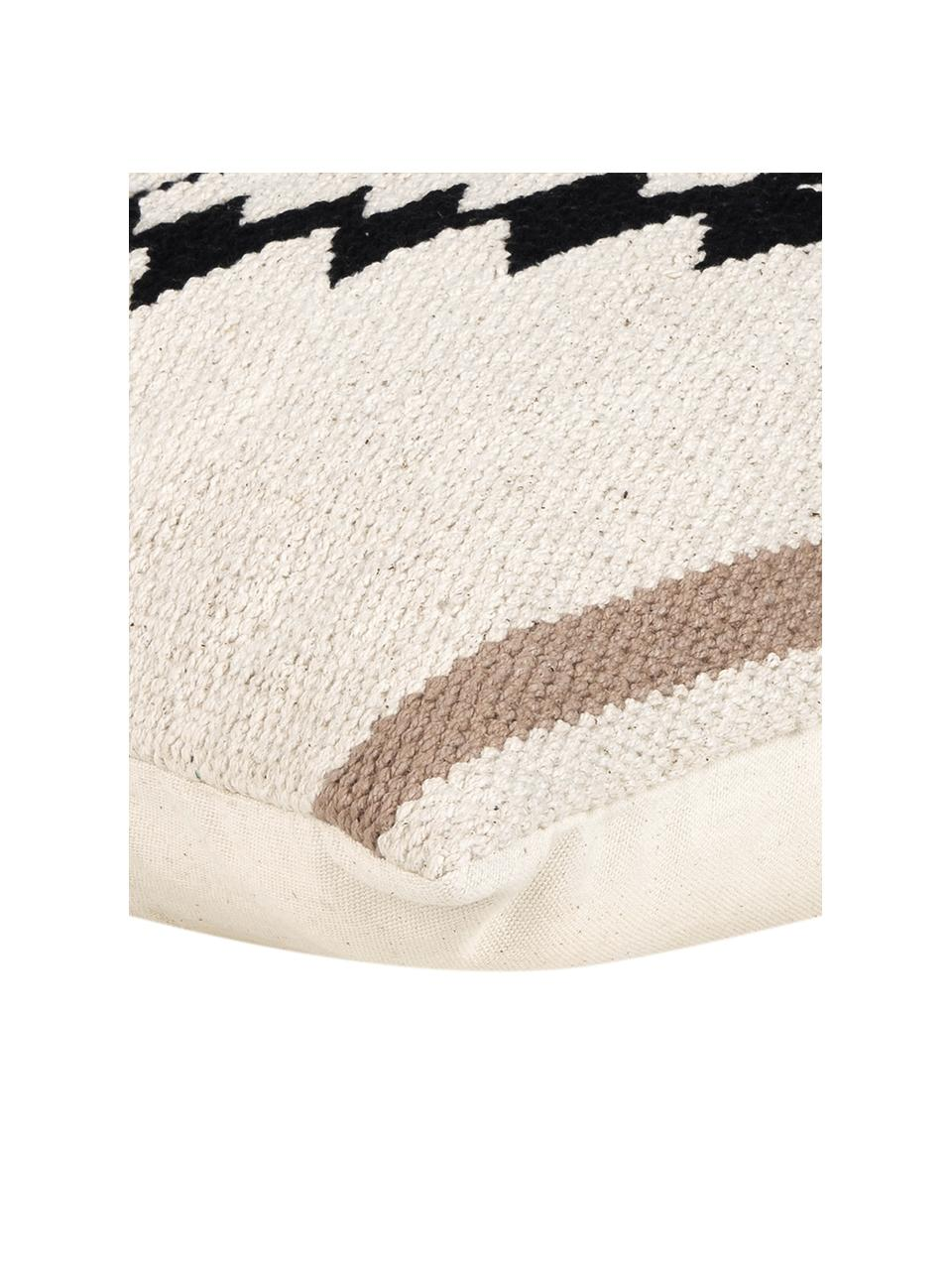 Gewebte Kissenhülle Toluca im Ethno Style, 100% Baumwolle, Schwarz, Beige, Taupe, 45 x 45 cm