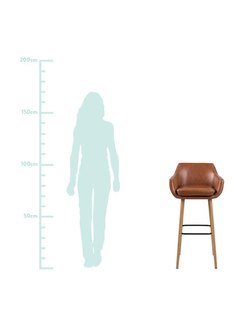 Kunstleder-Barstuhl Nora, Bezug: Kunstleder (Polyurethan), Beine: Eichenholz, ölbehandelt, Bezug: Cognac Beine: Eiche Fußstütze: Schwarz, 55 x 101 cm