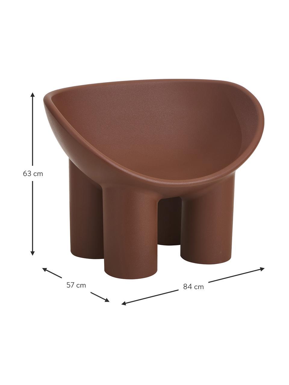 Poltrona di design marrone Roly Poly, Polietilene, prodotto in un processo di stampaggio rotazionale, Marrone, Larg. 84 x Prof. 57 cm
