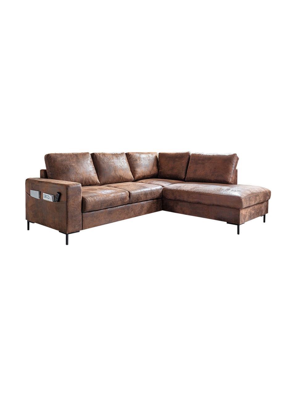 Sofa narożna z funkcją spania Lilly, Tapicerka: 100% mikrofibra, Brązowy, S 237 x G 197 cm
