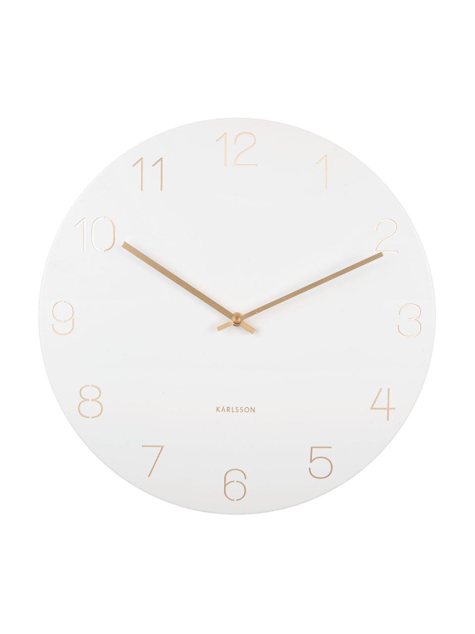 Zegar ścienny Charm, Metal powlekany, Biały, odcienie mosiądzu, Ø 40 cm