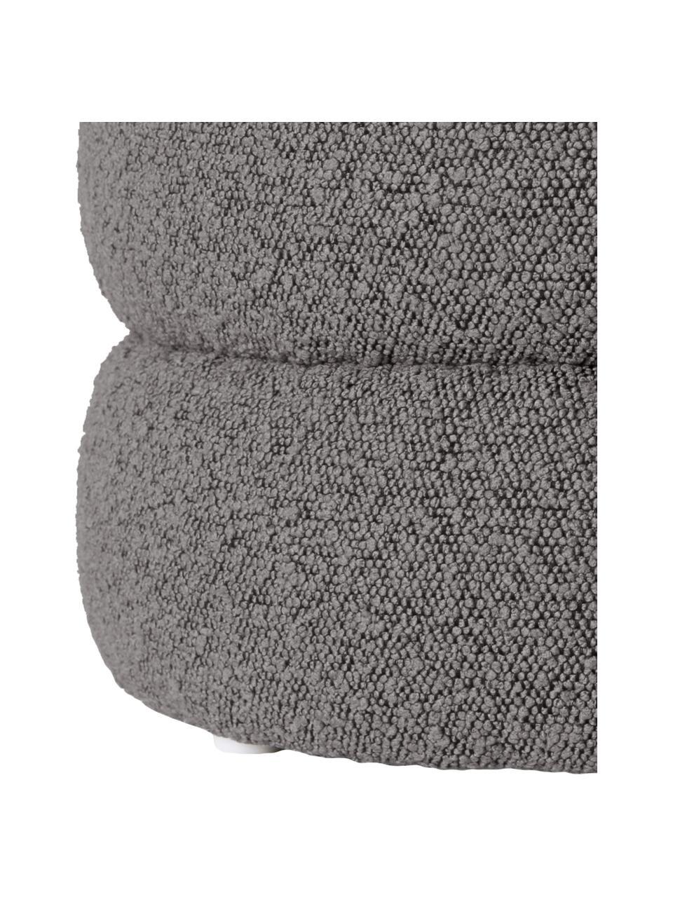 Sgabello in tessuto bouclé grigio Alto, Rivestimento: 100% poliestere (pellicci, Struttura: legno di pino massiccio, , Bouclé grigio, Ø 42 x Alt. 47 cm