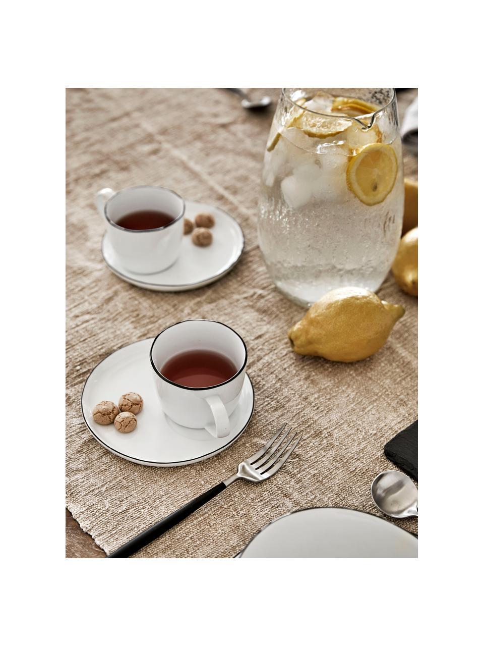 Ręcznie wykonana filiżanka do espresso ze spodkiem Salt, Porcelana, Złamana biel, czarny, Ø 6 x W 5 cm