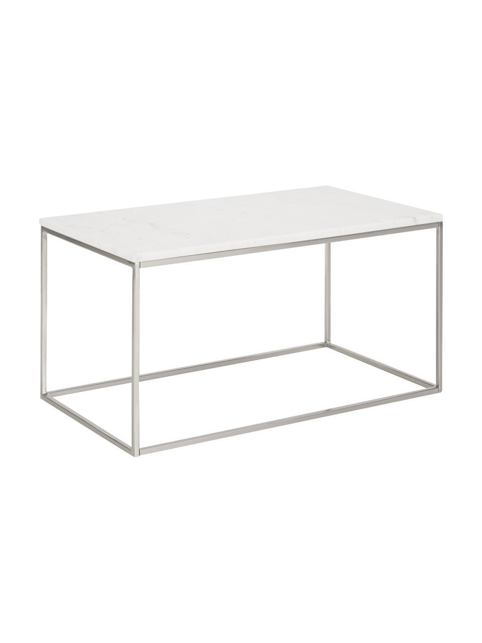 Marmeren salontafel Alys, Tafelblad: marmer, Frame: gepoedercoat metaal, Tafelblad: wit marmer. Frame: zilverkleurig, glanzend, 80 x 40 cm