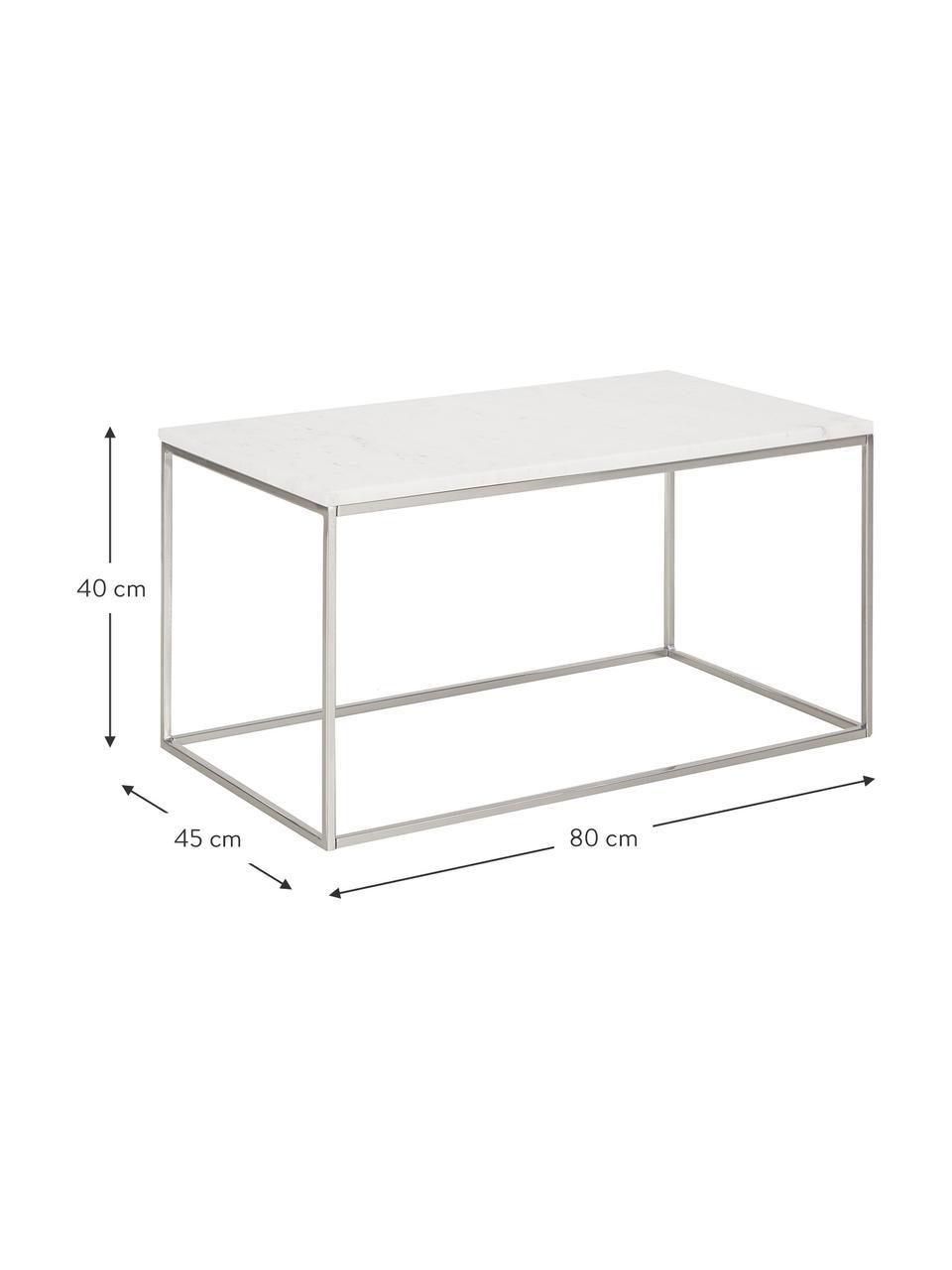 Marmor-Couchtisch Alys, Tischplatte: Marmor, Gestell: Metall, pulverbeschichtet, Weißer Marmor, Silberfarben, 80 x 40 cm