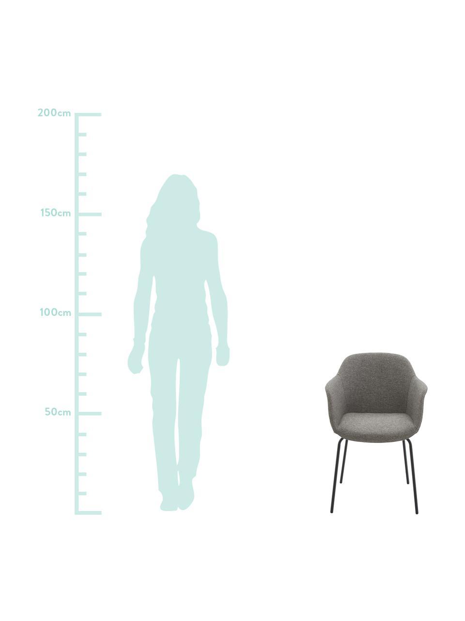 Krzesło z podłokietnikami z metalowymi nogami Fiji, Tapicerka: poliester Dzięki tkaninie, Nogi: metal malowany proszkowo, Siedzisko: ciemny szary Nogi: czarny, matowy, S 58 x G 56 cm