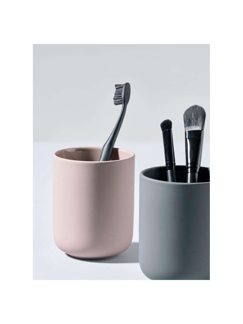 Zahnputzbecher Ume aus Steingut, Steingut überzogen mit Soft-touch-Oberfläche (Kunststoff), Rosa, matt, Ø 8 x H 10 cm