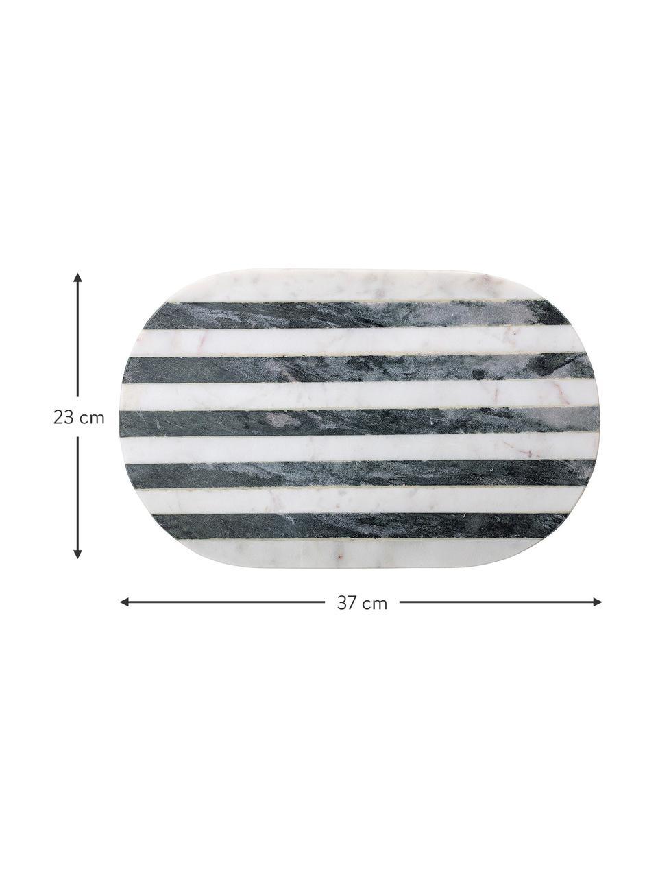 Marmor-Schneidebrett Stripes, L 37 x B 23 cm, Marmor, Schwarz, Weiß, 23 x 37 cm