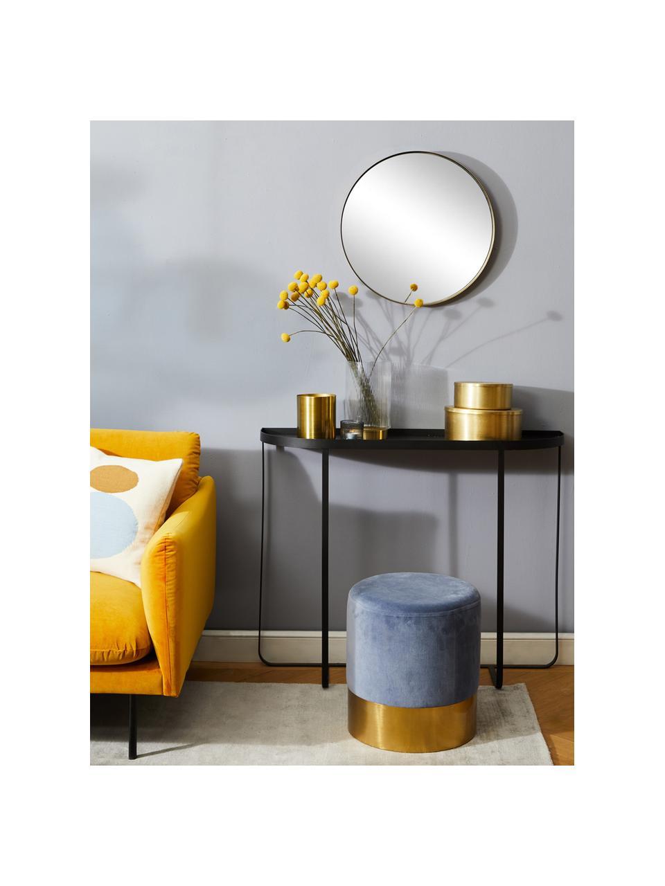 Runder Wandspiegel Ada mit Goldrahmen, Rahmen: Eisen, vermessingt, Spiegelfläche: Spiegelglas, Messing, gebürstet, Ø 60 cm