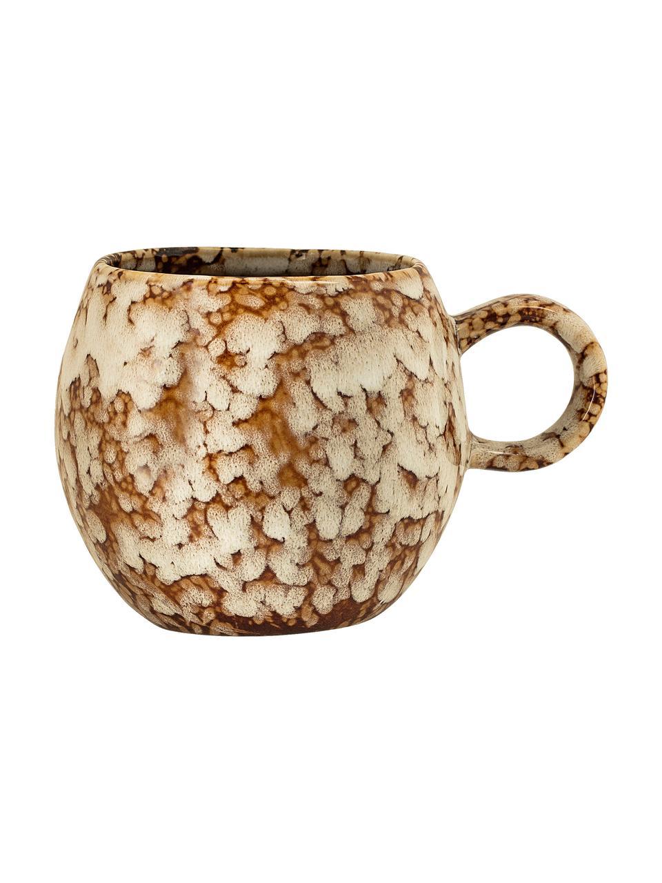 Tazza fatta a mano con smalto efficace Paula, Gres, Marrone, bianco crema, Ø 9 x Alt. 8 cm