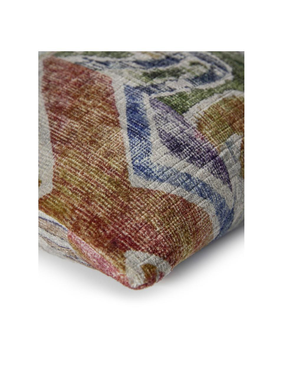 Samt-Kissenhülle Cosima mit buntem Ethno-Muster, 100% Polyestersamt, Weinrot, Mehrfarbig, 40 x 40 cm