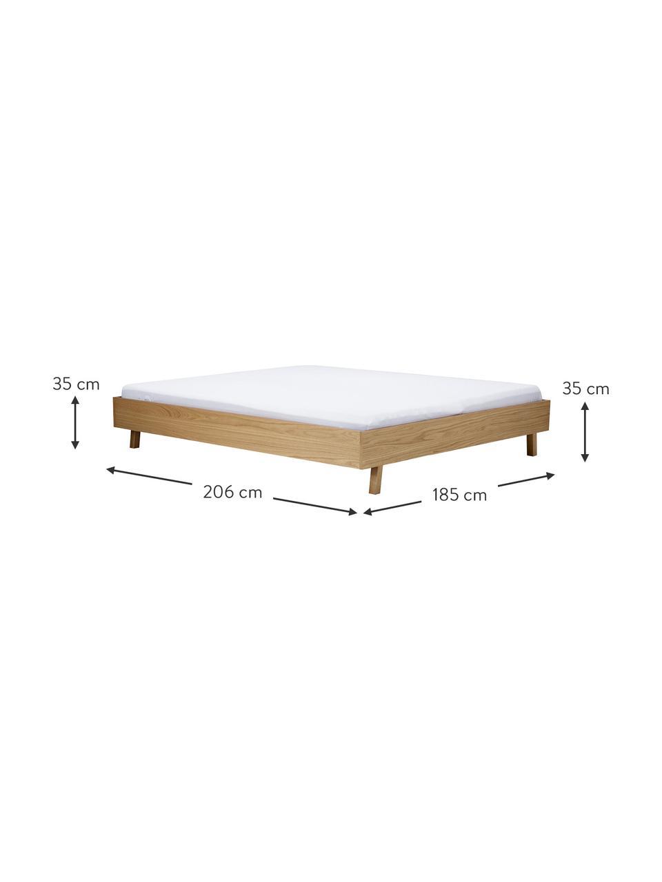 Łóżko z drewna bez zagłówka Tammy, Stelaż: sklejka z fornirem z drew, Nogi: lite drewno dębowe, Drewno dębowe, S 160 x D 200 cm