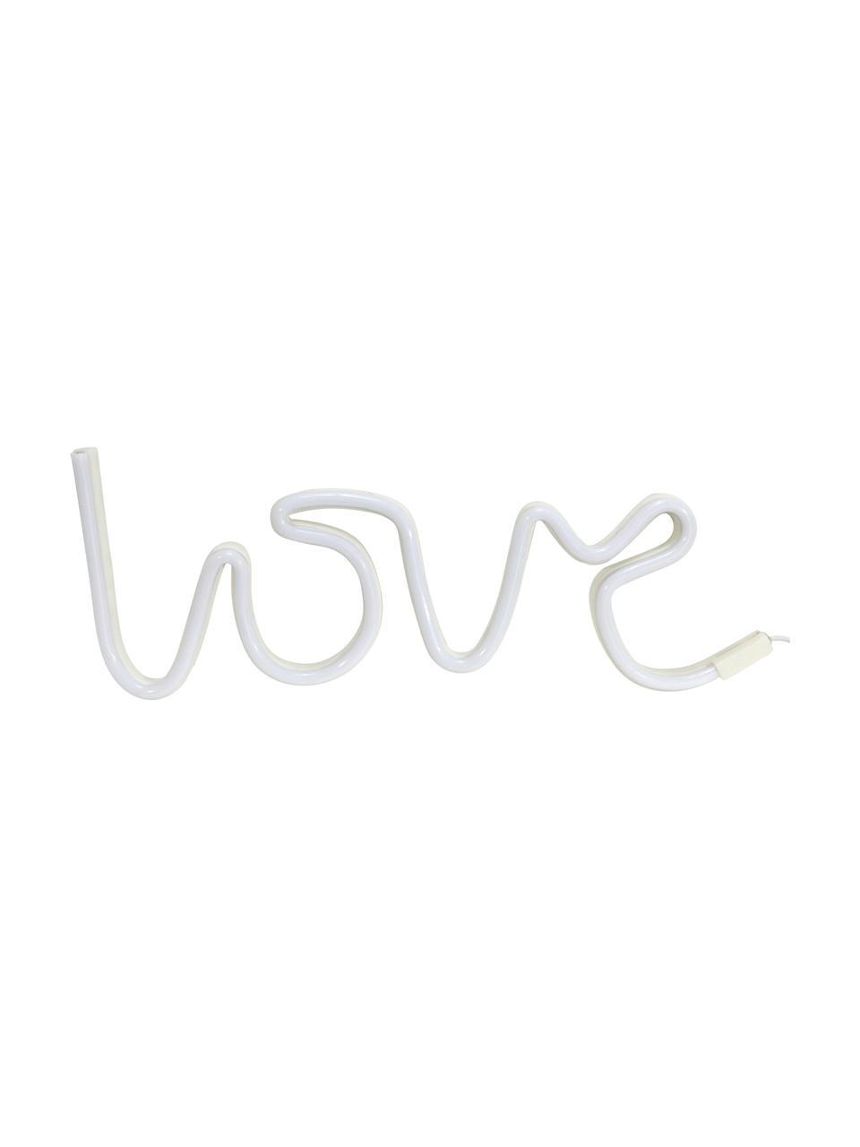 LED-Leuchtobjekt Love, Kunststoff, Weiß, 40 x 17 cm
