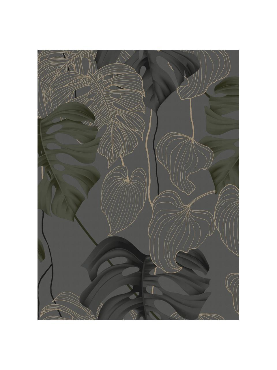Carta da parati Paradiso, Tessuto non tessuto, Grigio, nero, verde, marrone, Larg. 52 x Alt. 1005 cm