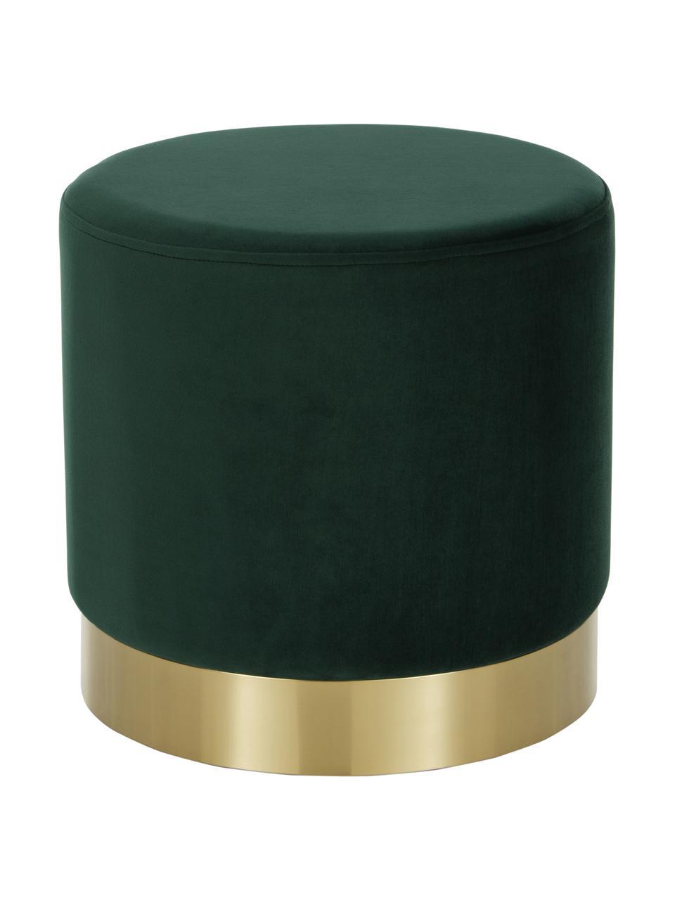 Fluwelen poef Orchid in groen, Bekleding: fluweel (100% polyester), Frame: karton, multiplex, Voet: gecoat metaal, Bekleding: lichtgroen. Voet: goudkleurig, Ø 38 x H 38 cm