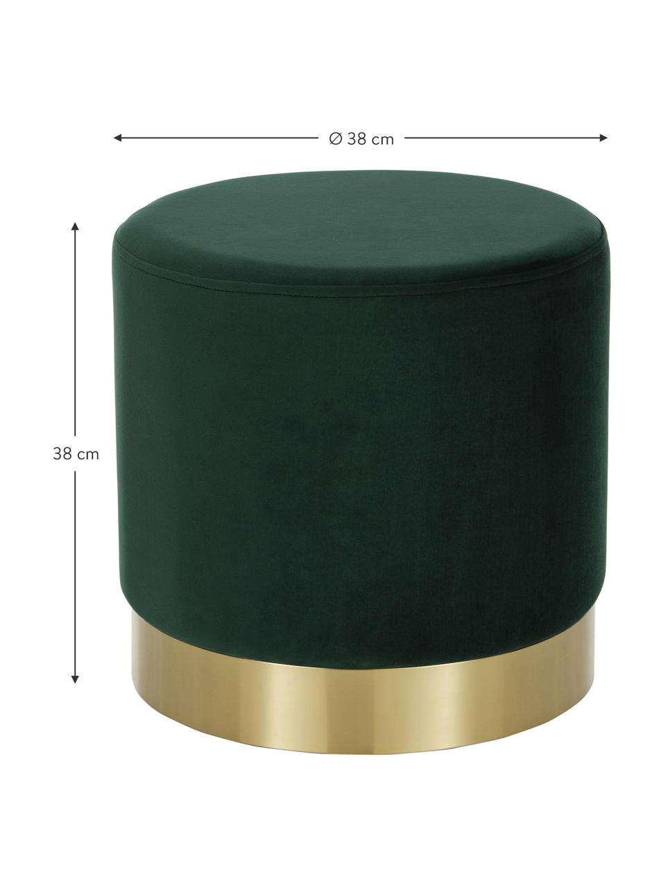 Pouf in velluto verde Orchid, Rivestimento: velluto (100% poliestere), Struttura: compensato, Velluto verde, dorato, Ø 38 x Alt. 38 cm