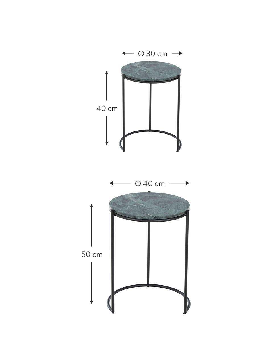 Marmor-Beistelltisch-Set Ella, 2-tlg., Grüner Marmor, Schwarz, Sondergrößen